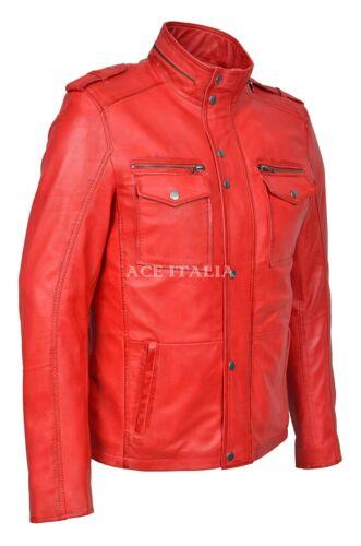 Giacca Uomo in Pelle Rossa Stile Biker Moto Colletto Con Cerniera 100/% vera Napa 5540