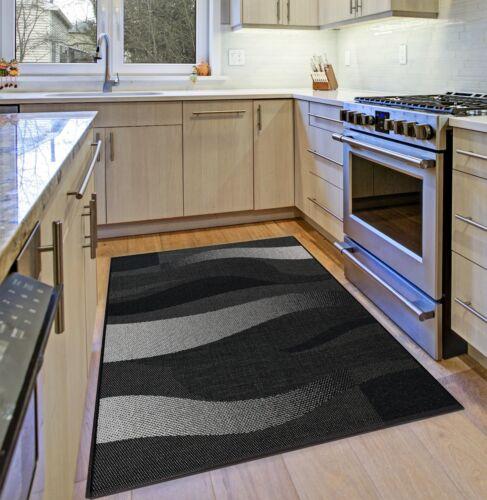 Noir Cuisine Tapis Résistante Gris Argent Vague Design Plat Tissage Floor Carpet