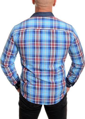 Men/'s Lumberjack Checkered Shirt Casual Denim Collar Cuffs Cyan Blue Slim Fit UK