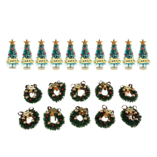 Dollhouse Miniature Decor 20PC Christmas Wreath Tree Photography Props