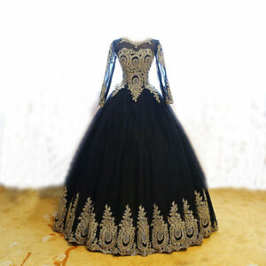 Image Is Loading Long Sleeves Wedding Dress Black Gold Lique