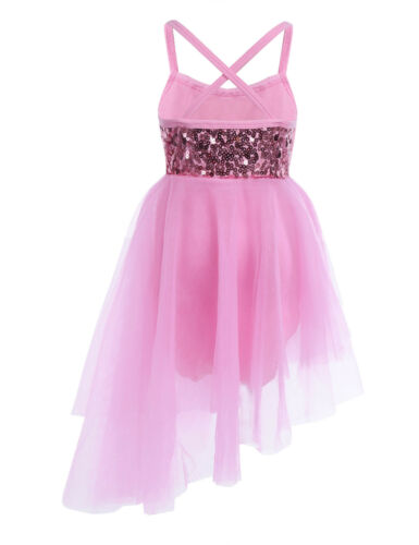 Kid Girl Ballet Lyrical Dance Dress Modern Ballet Leotard Pleated Skirt Costumes