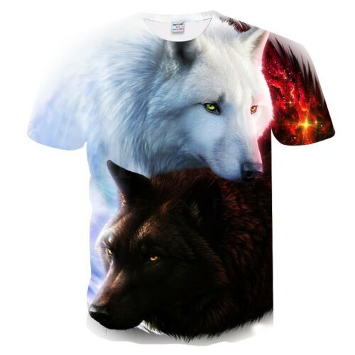 Fashion Men Funny Lion 3D Print T-Shirt Casual Crew Neck Short Sleeves Tops Tee