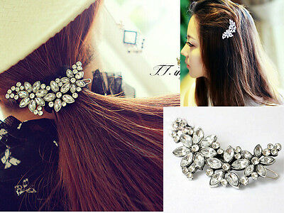 Retro Bridal Wedding Hair Accessory Flower Crystal Rhinestone Barrette Hair Clip