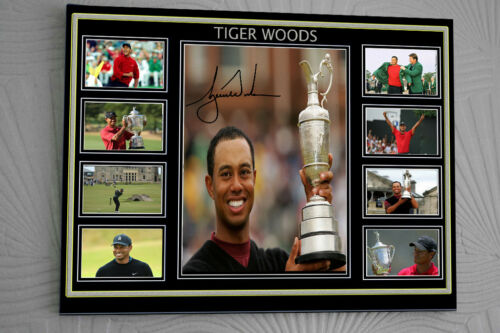 TIGER WOODS A3 CLIP GLASS Framed Canvas Portrait Signed
