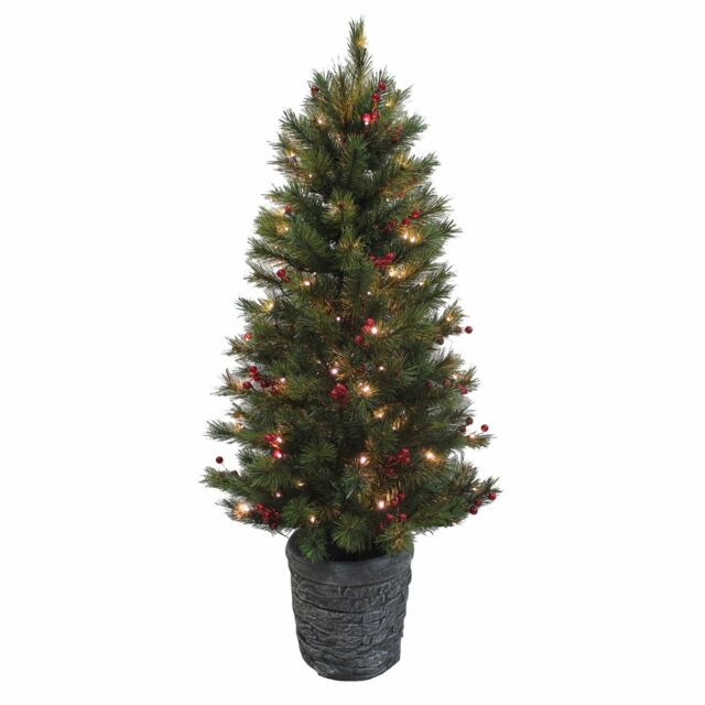 Gorgeous 4ft Pre Lit Potted Christmas Tree Warm White Led Lights Red Berries
