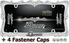 Queen Chrome Metal License Plate Frame Car Truck Tag Holder Bling Screw Bolt Cap