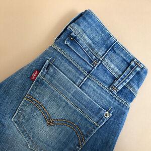 Levi-Jeans-Straight-Leg-Zip-Fly-blau-Vintage-Damen-Patchw-27l32-W-26-L-31