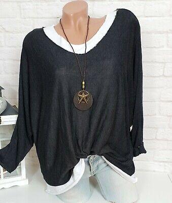 Femmes oversize tricot fin pull 3tlg Pull Top Foulard Shirt bleu 40 42 44