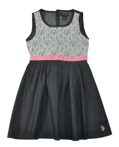 US Polo Assn Big Girls Denim Black Laced Dress Size 7 8 10 $42