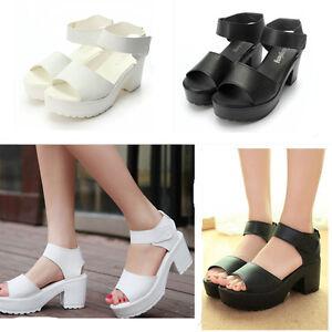 New-Summer-Women-Sandals-High-Heel-Platform-Shoes-Chunky-Peep-Toe-Gladiator-5