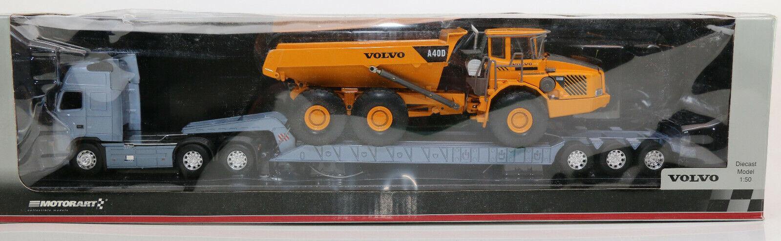Volvo H 12 + Tieflader + Volvo A40 D Dumper 1 50 Motorart 13078 OVP Neu