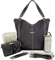 Timi & Leslie Marcelle 7 Piece Faux Leather Baby Diaper Bag Set Black Edition