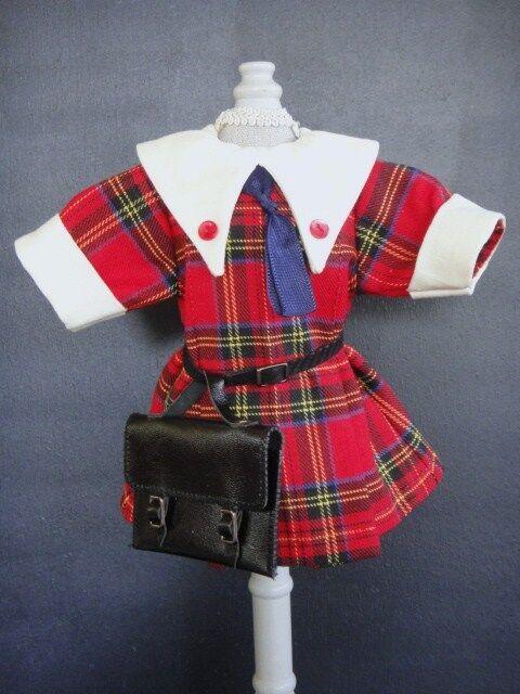 Vestido colegiala para la muñeca BLEUETTE 27cm. Reproducción Gautier Languereau