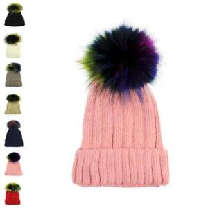 Faux Fur Women Black multi colour Pom Pom 15cm Ball Knit Crochet ... a7f65196f3b