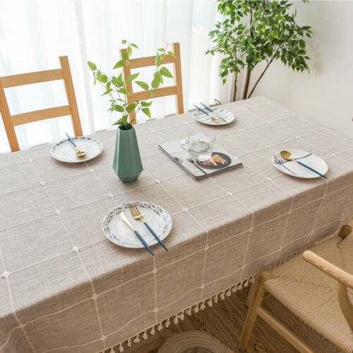 Tassel Cotton Linen Tablecloth Table Cloth Covers Rectangle Washable Home Decor