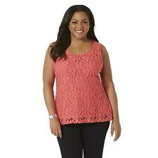 Simply Emma Women's Plus Floral Lace Tank Top Coral Size 1X New W Tags