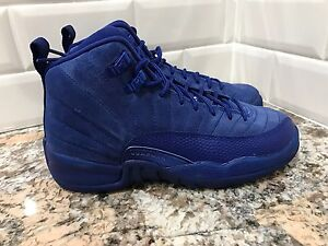 3647a24ebce5 Nike Air Jordan 12 XII Retro GS Kids Deep Royal Blue Suede SZ 3.5Y ...