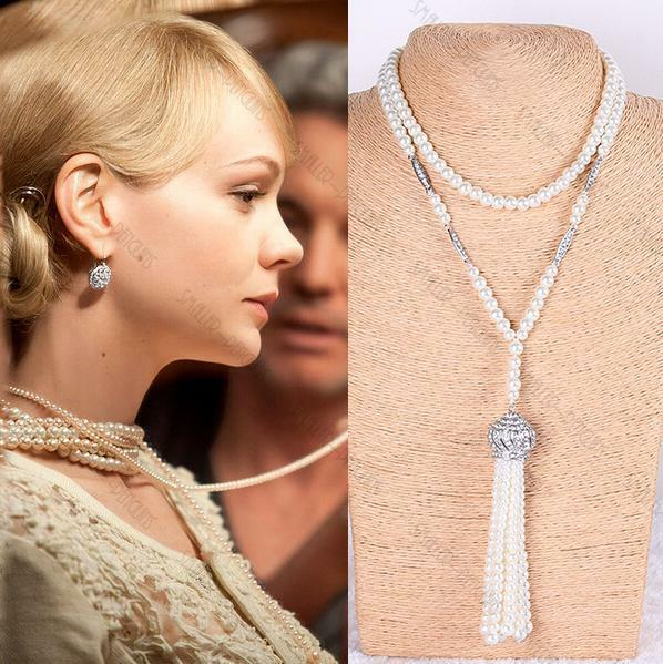 1920's Daisy Great Gatsby Flapper Pearl Necklace Fancy Dress Costume Accessory