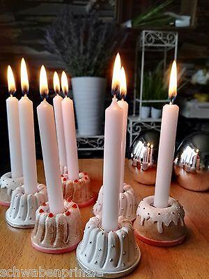 4er Auf Flasche aufstecken Schweres Metall Kerzenhalter Guß Weiß für Stabkerzen