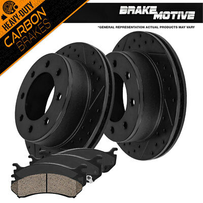 Carbon Ceramic Pads For Ford Excursion F250 F350 Front Drill Slot Brake Rotors
