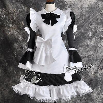 Schwarz-weiß Cosplay Kostüm Maid  Kleid Palast Dress Schürzen Satin dick Party