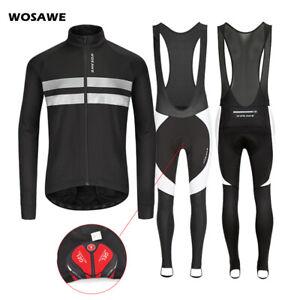 Mens Cycling Sets Windproof Jacket Bib Tights Gel Padded MTB Mountain Bike Kit