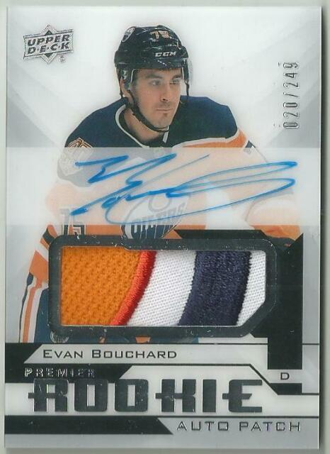 18-19 UD Premier Collection Evan Bouchard Rookie Auto/Patch RPA RC SP /249