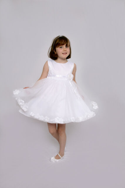 Flower Girls Dress Petal Ivory White Pink Bridesmiad New Age 3 months - 5 Years