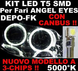 10-COPPIE-20PZ-Lampadine-LED-T5-5000-K-BIANCHI-ANGEL-EYES-CANBUS-fari-FK-DEPO