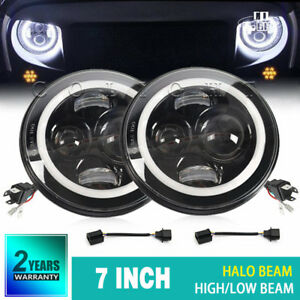2x-7-039-039-DOT-E9-LED-High-Out-Put-Head-Lights-Daylight-Halo-for-land-rover-defender