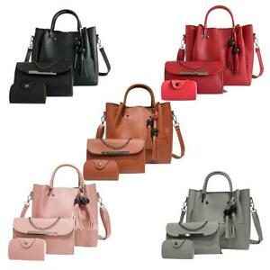 97f461f8e8 3Pcs Fashion PU Women Leather Handbag Set Shoulder Tote Messenger ...