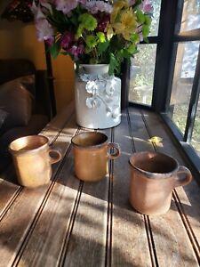 Vintage McCoy Brown Pottery 1412 USA Coffee Cup Mugs Set Of 3