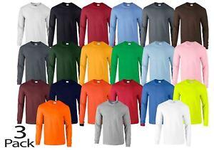3-Pack-Gildan-Mens-Ultra-Cotton-Adult-Long-Sleeve-Plain-T-Shirt-Cotton-Tee-Shirt