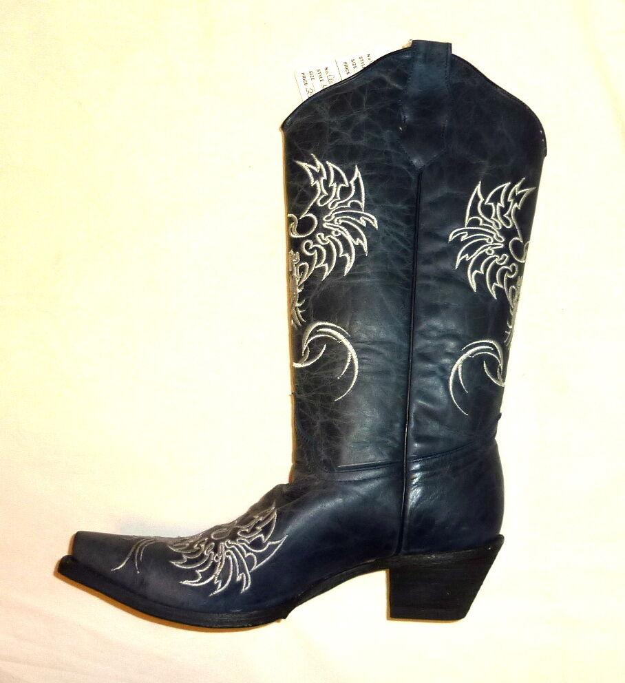 Corral Corral Corral L5005 tamaño 5M para mujeres botas De Cuero Occidental Phoenix Vaquera Azul Marino  nuevo  mejor calidad