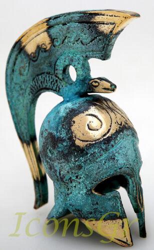 Ancient Greek Bronze Museum Replica Vintage Miniature Battle Helmet Snake Crest