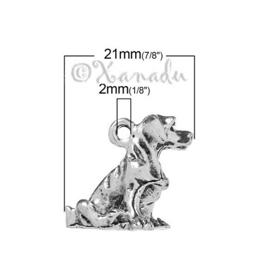 Labrador Retriever Puppy Dog Antiqued Silver Plated Charms C4302-2 5 Or 10PCs
