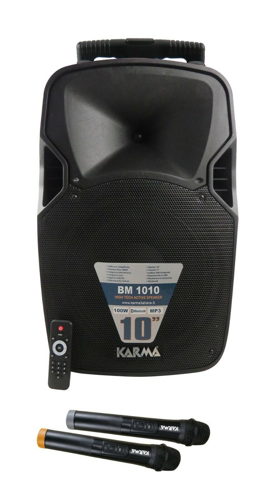 BM 1010 Speaker Amplified by 100w with 2 microphones