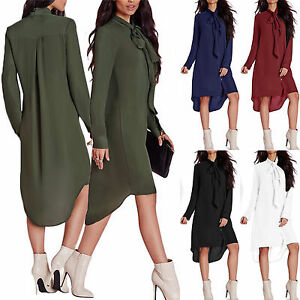 Details about Womens Bow Tie Shift Dress Short Mini Dresses Casual Long  Sleeve Chiffon Blouse 537223305