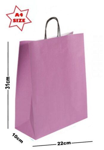 30 x Paper Party Gift Bags SIZE A4 ~ Boutique Shop Loot Carrier Bag ~Pick Colour