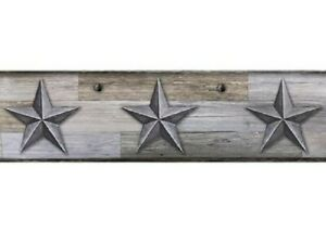 Primitive-GRAY-BARN-STARS-WALLPAPER-BORDER-Country-Rustic-Farmhouse-5-yds-long