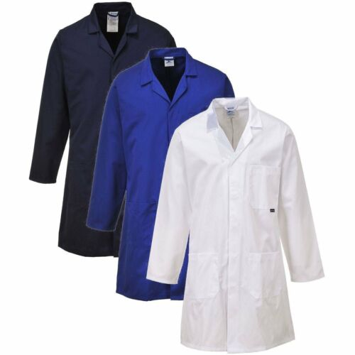 PORTWEST C852 navy or white standard polycotton lab warehouse coat size XS-4XL