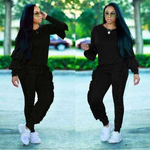 2PCS Women Ruffles Hoodies Tracksuit Sweatshirt Tops Pants SportsWear Joggin