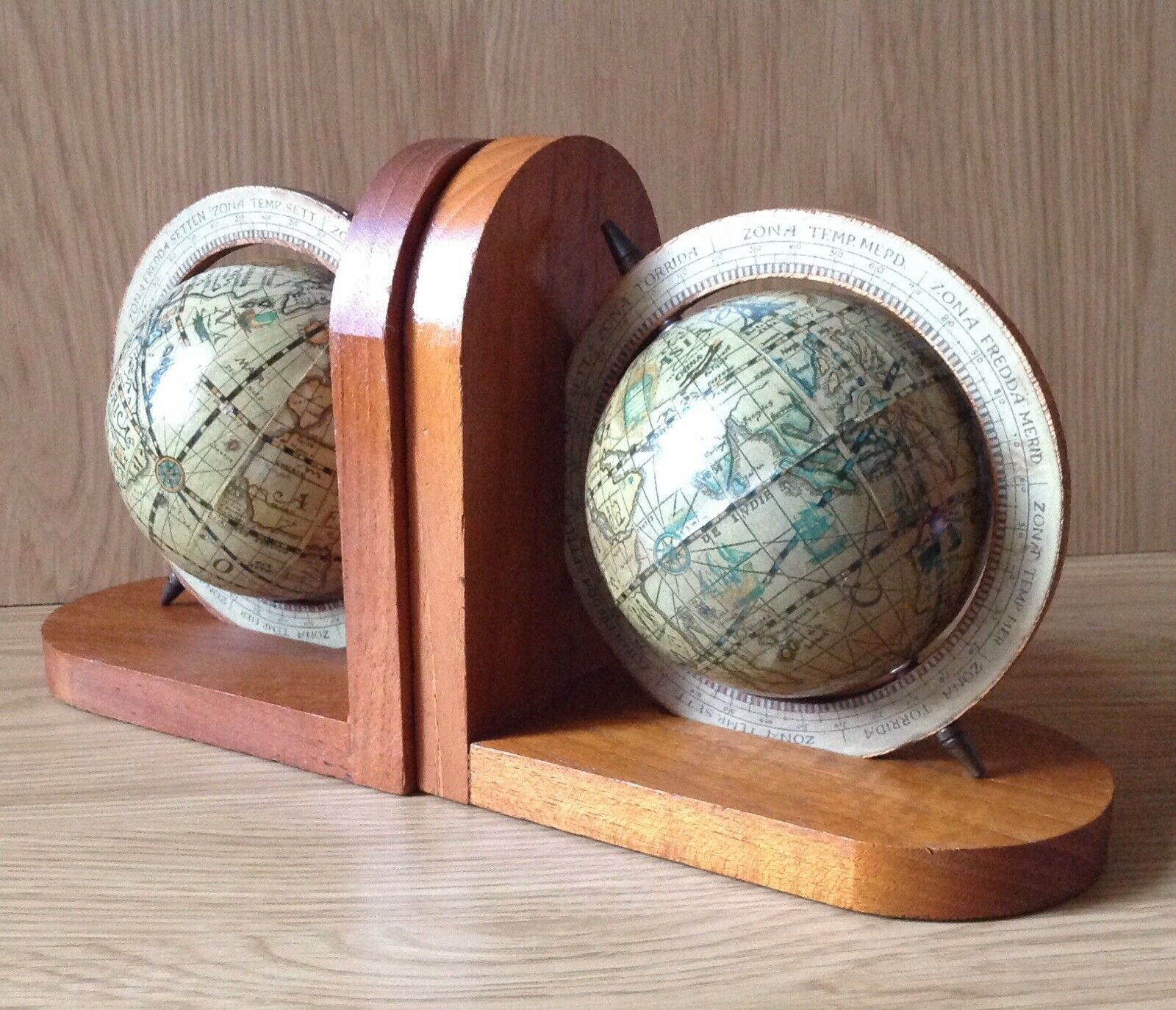 Vintage Pair Of Atlas Globe Bookends