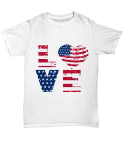 LOVE America Flag Unisex Tee Shirt Stars Stripes USA T-Shirt Patriotic Heart