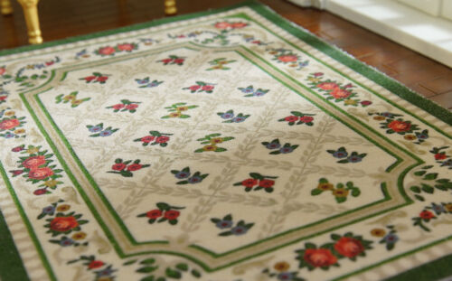 Beautiful Aubusson Design Light Blue Flowers Dollhouse 1//12 Scale Lace Rug