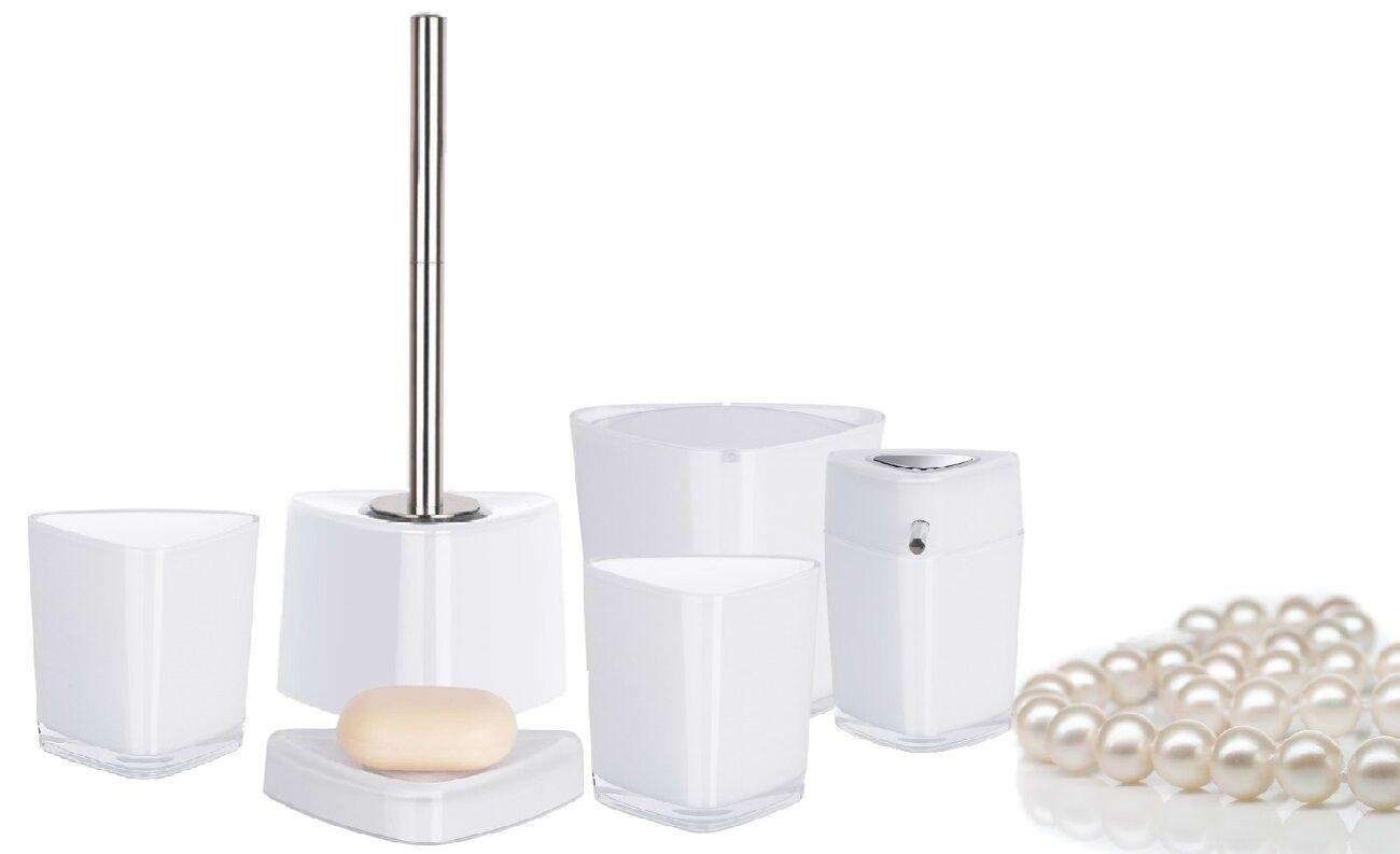 Trix Acrylique Blanc Bain Ensemble de 5 Pièces Assortiment pour Salles de Bain