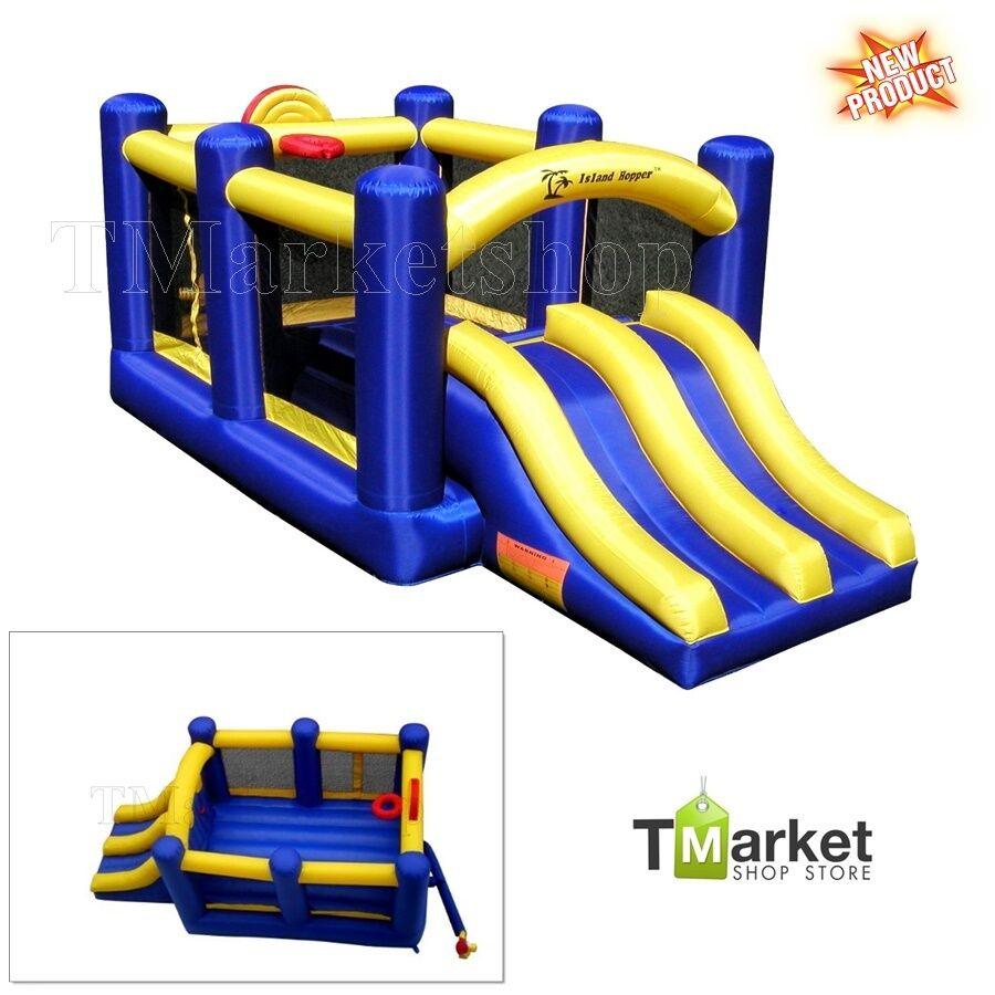Bounce House Blower : Super double racing slide inflatable bounce house bouncer