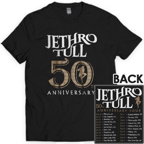 Jethro Tull 50th Anniversary Tour Dates North America 2018 T shirt S-3XL MEN/'S