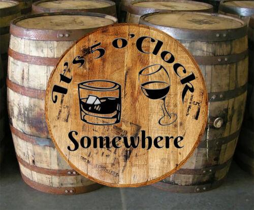 Whiskey Barrel Head 5 o/'clock Mixed Drinks Bar Sign Home Decor Wall Art